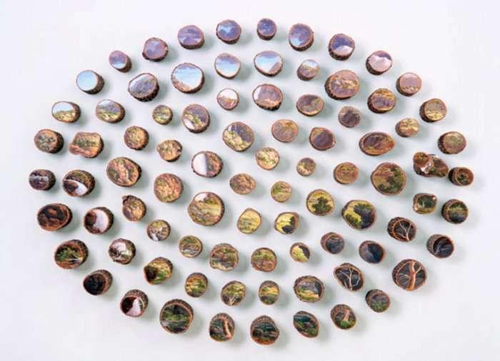 Картины на срезах деревьев Alison Moritsugu