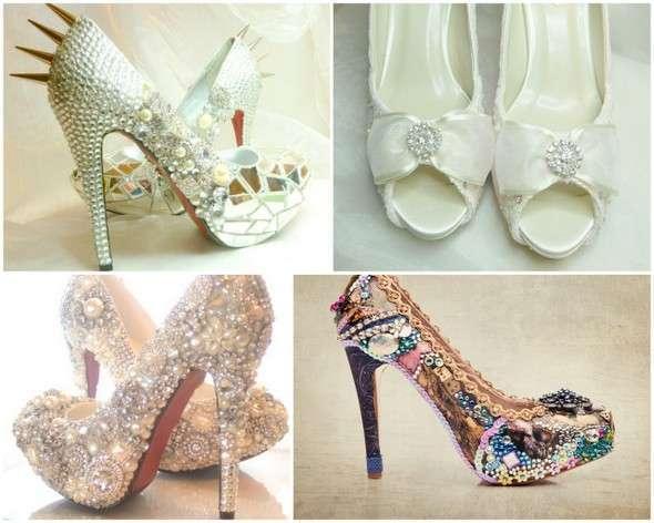 a8243ebb61f470 Весільні туфлі на високому каблуці прикрашені кристалами і стразами ...